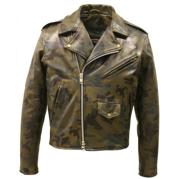 LEATHER CAMOUFLAGE BIKER JACKET (CUSTOM-MADE)