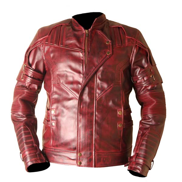 Star Lord Guardians Of The Galaxy 2 Waxed Genuine Leather Jacket Burgundy