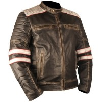 Vintage Retro 2 Motorcycle Cafe Racer Moto Distressed Black Genuine Leather Jacket