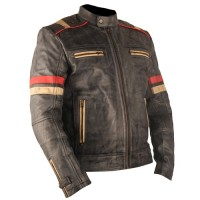 Vintage Retro Motorcycle Cafe Racer Moto Distressed Blue Genuine Leather Jacket