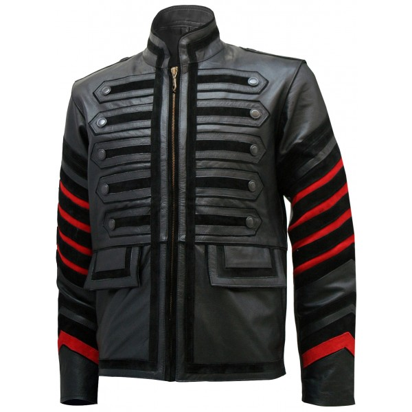 Men Black Military Leather Jacket - Bertinelli