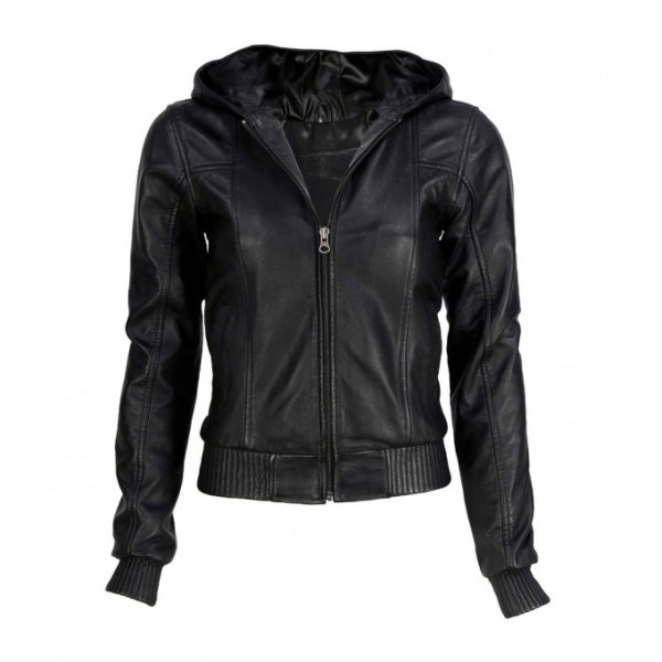 BLACK HOODED BOMBER LAMBSKIN LEATHER JACKET