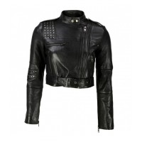 BIKER STUDDED CROPPED JACKET