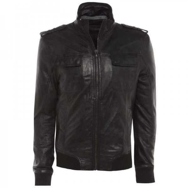 Barneys Black Label Men's Funnel Neck Leather Bomber Jacket