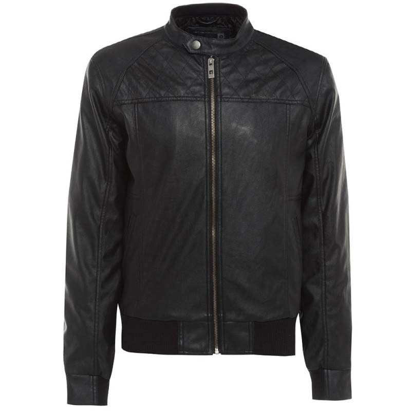Men's Leather Look Bomber Jacket With Biker Style Tab Fastened Collar