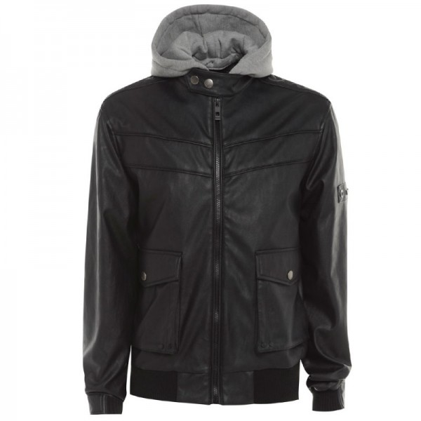 Men's  Hooded Bomber Leather Jacket