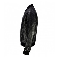 BLACK LAMBSKIN LEATHER QUILTED VARSITY JACKET