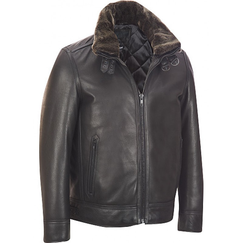 Leather Bomber Jacket w/ Faux-Fur Collar