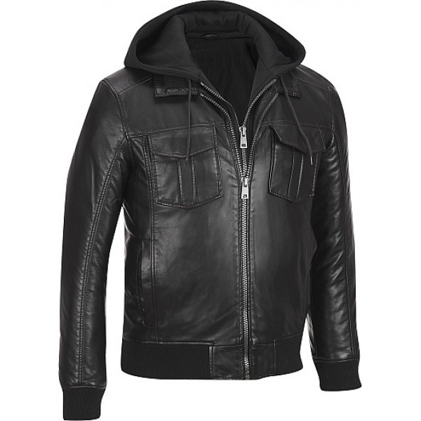 Faux-Leather Jacket w/ Removable Hood