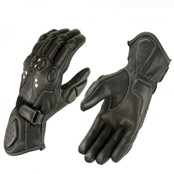 Motorcycle Black Leather Gloves