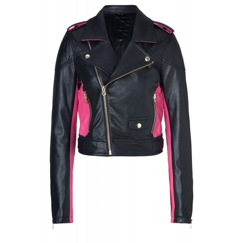 Pitch Black/Magenta Leather Moto Jacket