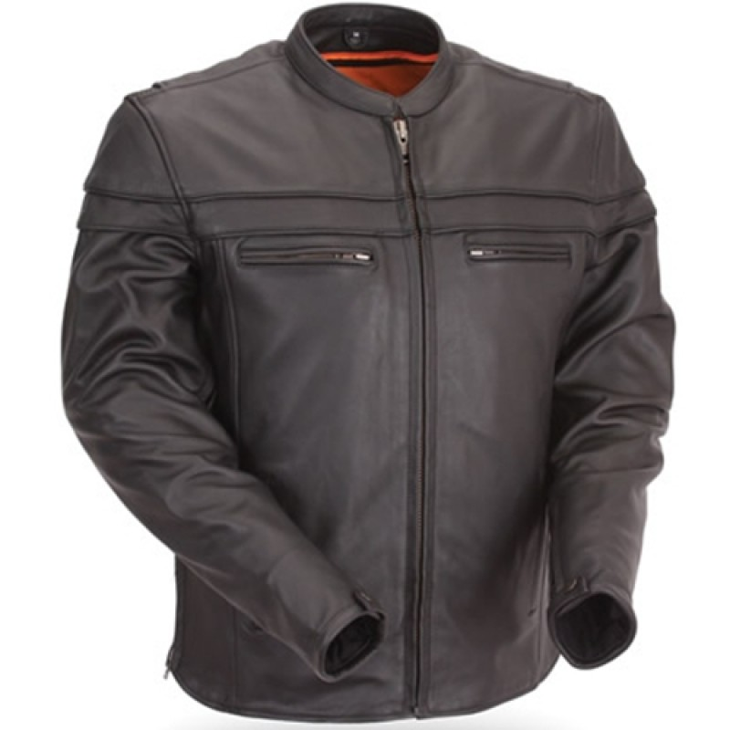Men's Black Leather Motorcycle Jacket with Mandarin Collar