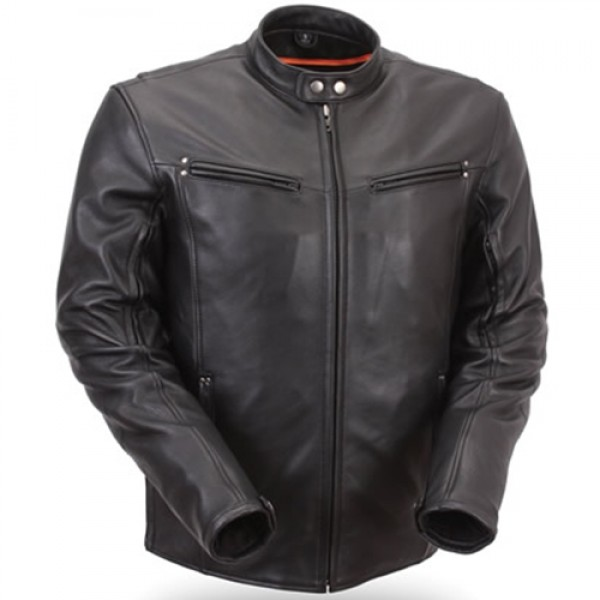 Men's Premium Black Leather Motorcycle Jacket with Multiple Vents