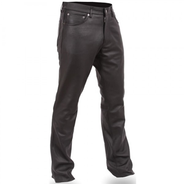 Men's Black Leather Motorcycle Pants