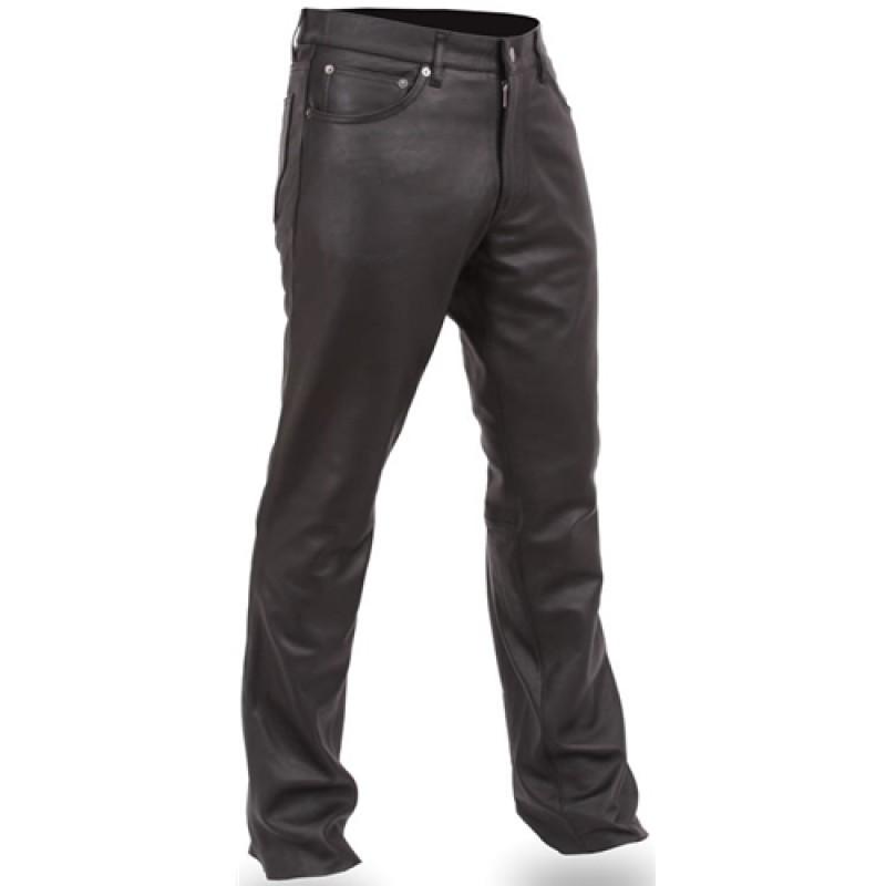 Men's Black Leather Motorcycle Pants