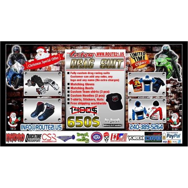 Custom Drag racing suit X Mas offer E mail info@route21.us